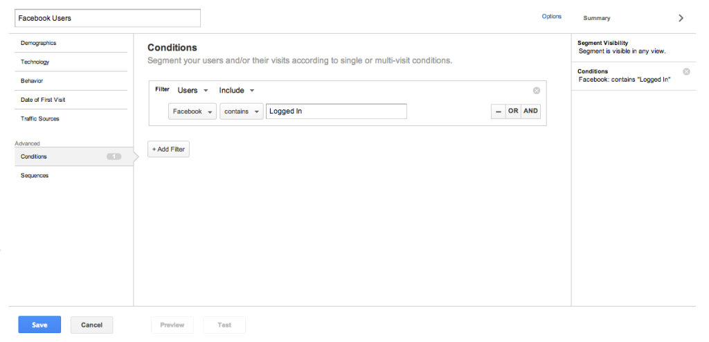 Google Analytics Custom Segments